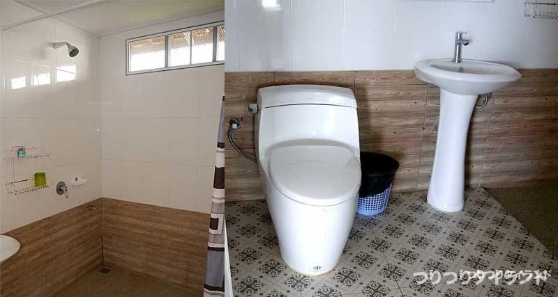 バンガローのシャワーとトイレ