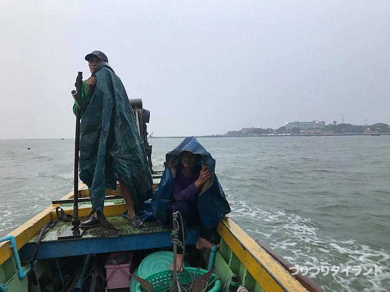 バンサイの船上で雨
