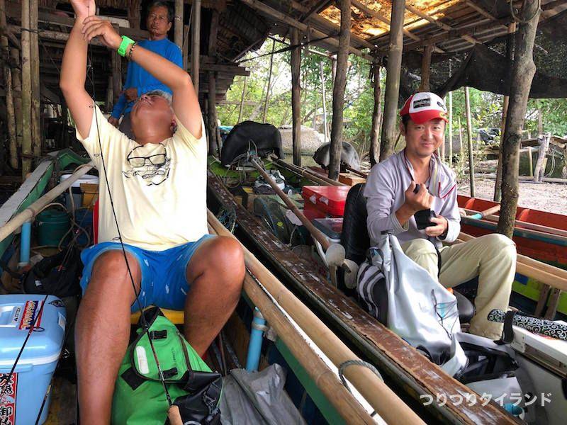 エビ釣り準備 バンパコン川