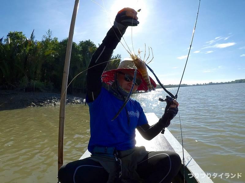 オニテナガエビを釣ったテッチャン